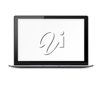 Modern glossy laptop with blank white screen and shadows isolated on white background. Highly detailed illustration.