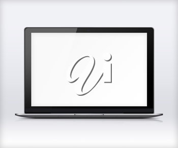 Modern glossy laptop with blank white screen, reflection and shadows on gray background. Highly detailed illustration.