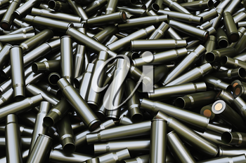 Background from military machine gun cartridges. Danger concept.