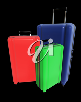 Large family polycarbonate luggages isolated on black background. 3D rendering.