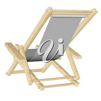 Wooden beach deck chair with grey fabric isolated on white background. 3d rendering.