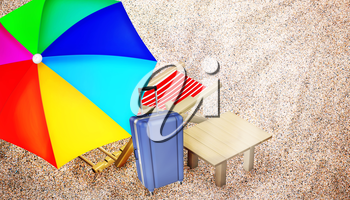 Beach chair, table, family polycarbonate luggage and varicolored umbrella on sandy beach. Vacation. Travel. Top view. 3D illustration.