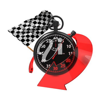 Checkered Flag with Stopwatch and Arrow. Start - Finish Concept.