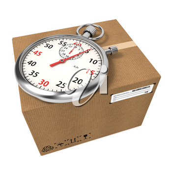 Stopwatch Over a Carton Boxes. Express Delivery Concept.