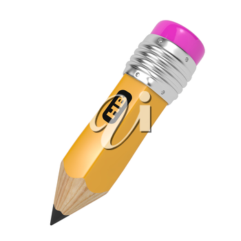 Pencil of Yellow Color with Rubber on the End. Isolated on White.