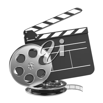Clapboard and Film Reel, Setting Next to Each Other. On white Background.