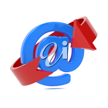 Email Icon with Red Arrow Over White.