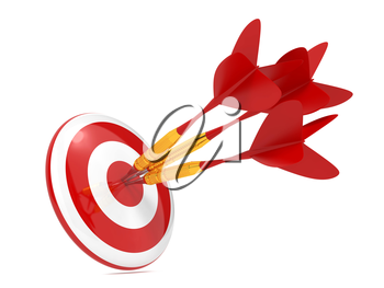 Three Red Darts Hitting a Target, Isolated On White Background.