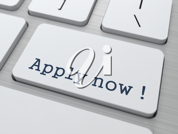 Apply Now - Button on Modern Computer Keyboard.