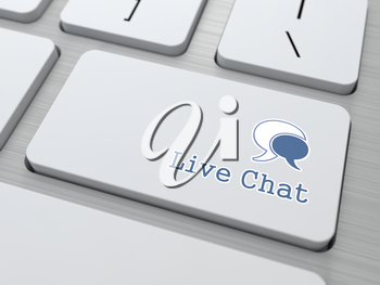 Live Chat Button on Modern Computer Keyboard. (v5)