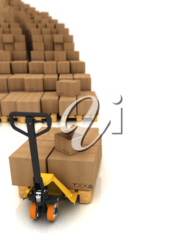 Cardboard Boxes on Pallet Truck Isolated on White
