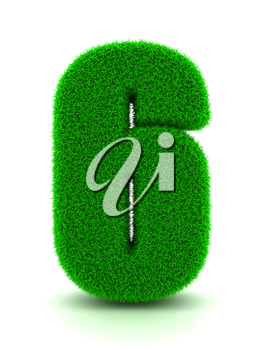 3d Rendering of Grass Number on White Isolated Background.
