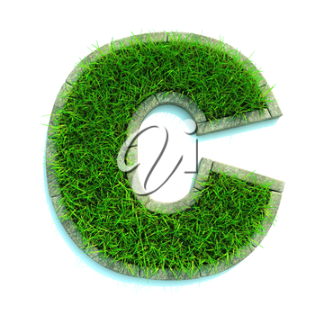 Beautiful Spring Letters and Numbers Made of Grass and Surrounded with  Border