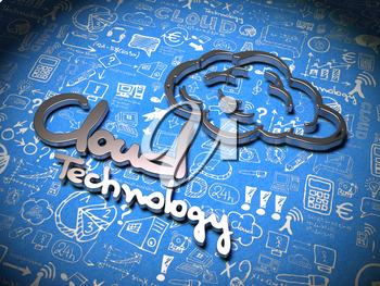 Cloud Technology Slogan made ??of Metal on Blue Background with Handwritten Characters. Cloud Concept for Your Blog or Publication.