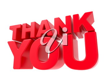Thank You - Red 3D Text. Isolated on White Background.