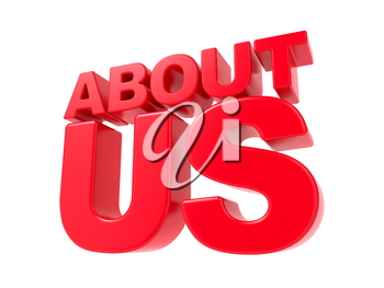 About Us - Red 3D Text. Isolated on White Background.
