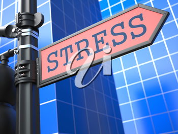 Stress Concept. Red Arrow Roadsign on Blue Background.
