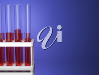 Test Tubes with Red Liquid in a Stand on Blue Background. 3D Render.