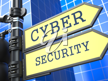 Business Concept. Cyber Security Roadsign on Blue Background.