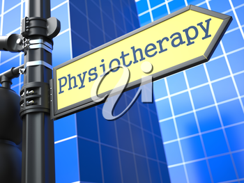 Physiotherapy Roadsign. Medical Concept on Blue Background.