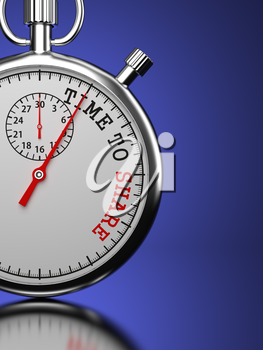 Time To Share Concept. Stopwatch with Time To Share slogan on a blue background. 3D Render.