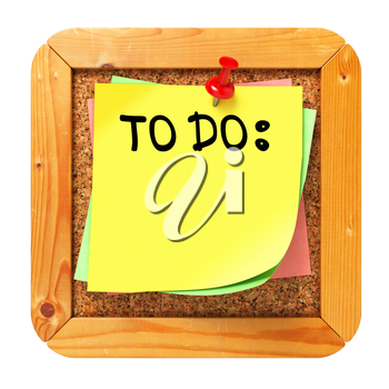 To Do, Yellow Sticker on Cork Bulletin or Message Board. Business Concept. 3D Render.