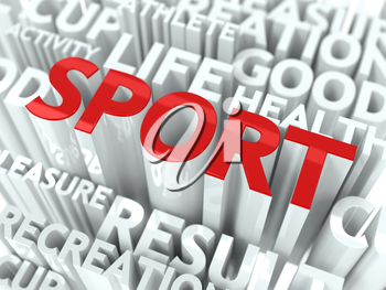 Sport Concept. The Word of Red Color Located over Text of White Color.