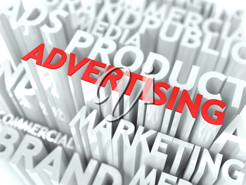 Advertising Concept. The Word of Red Color Located over Text of White Color.