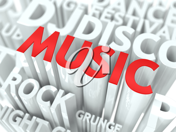 Music Concept. The Word of Red Color Located over Text of White Color.