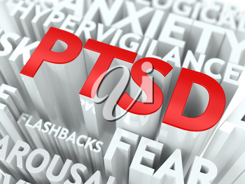 PTSD Concept. The Word of Red Color Located over Text of White Color.