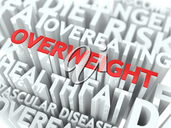 Overweight Concept. The Word of Red Color Located over Text of White Color.