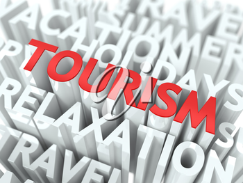 Tourism Concept. The Word of Red Color Located over Text of White Color.