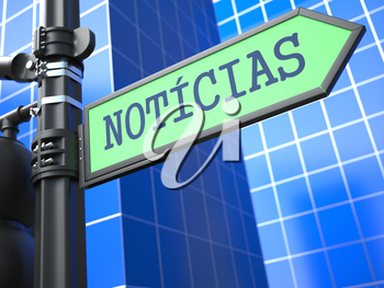 World News Concept. Word News on Sign (Portuguese) on Blue Background.