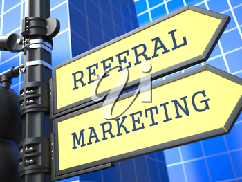 Business Concept. Referal Marketing Sign on Blue Background.