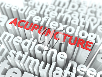 Acupuncture - Wordcloud Medical Concept. The Word in Red Color, Surrounded by a Cloud of Words Gray.