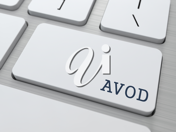 AVOD. Information Technology Concept. Button on Modern Computer Keyboard. 3D Render.