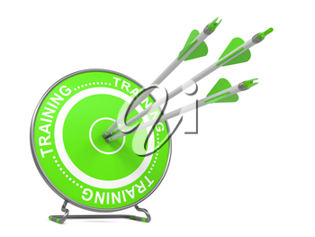 Training - Educational Background. Three Arrows Hitting the Center of a Green Target, where is Written Word Training. 3D Render.