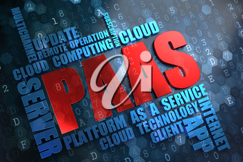 PAAS - Wordcloud Concept. The Word in Red Color, Surrounded by a Cloud of Blue Words.