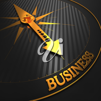 Business Background. Golden Compass Needle on a Black Field Pointing to the Word Business. 3D Render.