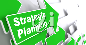 Strategic Planning - Business Concept. Green Arrow with Strategic Planning Slogan on a Grey Background. 3D Render.