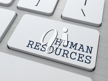 Human Resources. Business Concept. Button on Modern Computer Keyboard.