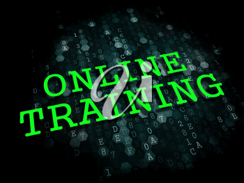 Online Training. Business Educational Concept. The Word in Light Green Color on Dark Digital Background.