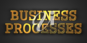 Business Processes - Gold Text on Dark Background. Business Concept. 3D Render.