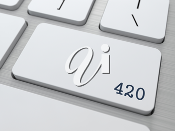 420. Cannabis Subculture Concept. Button on Modern Computer Keyboard. 3D Render.