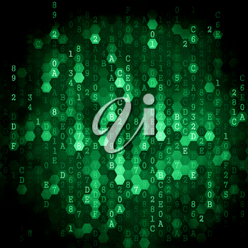 Digital Background. Pixelated Series Of Numbers Of Green Color Falling Down.