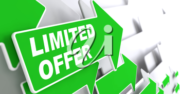 Limited Offer - Business Concept. Green Arrow with Limited Offer Slogan on a Grey Background. 3D Render.
