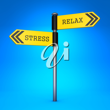 Yellow Two-Way Direction Sign with the Words Stress and Relax on Blue Background. Concept of Choice.