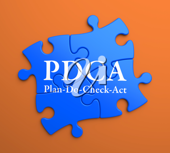 PDCA - Plan-Do-Check-Act - Written on Blue Puzzle Pieces on Orange Background. Business Concept.