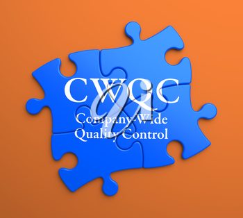 CWQC  - Company-Wide Quality Control - Written on Blue Puzzle Pieces on Orange Background. Business Concept.