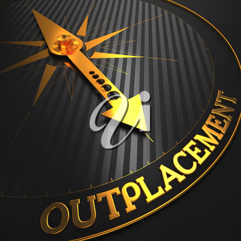 Outplacement - Business Concept. Golden Compass Needle on a Black Field Pointing to the Word Outplacement. 3D Render.